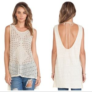 Free People Anjani Linen Sequin Beaded Tank